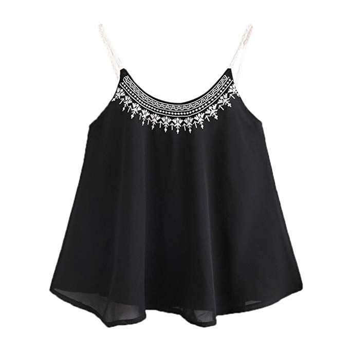 78e00c308c4 Amazon.com: Ankola Hot Sale Womens Casual Sleeveless Chiffon Crop ...