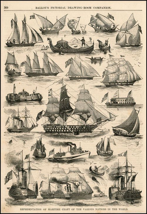A lovely illustration of different ships, and notice there are several hybrid steam and sail ships like Sam and Nat are on.