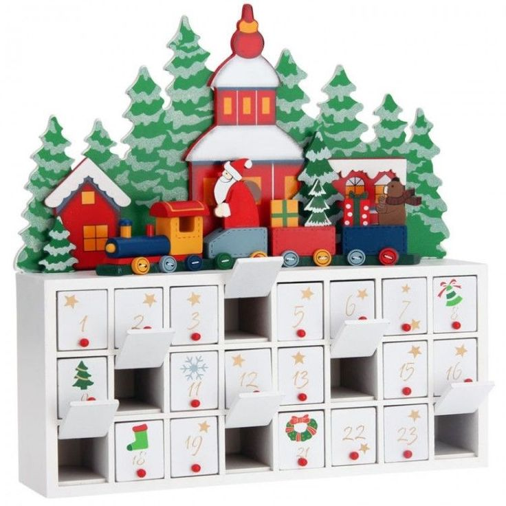 Advent Christmas Ornament Calendar Wooden Kids Xmass Reusable Drawers Festive #AdventChristmasOrnament