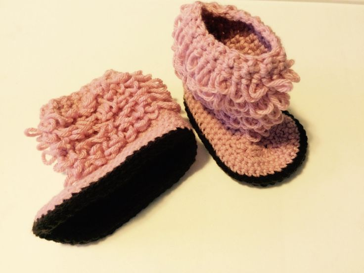 Hand-crocheted loopy ugg-style baby boots by FUNwithCROCHETnCLAY on Etsy