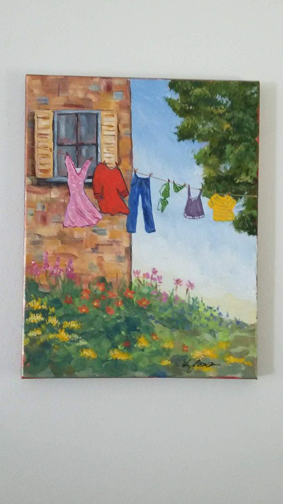Laundry Day Painting Sunny Country Wash Original Acrylic On Wred Canvas Room Art