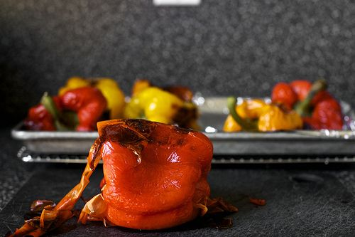 Roasted peppers with capers and mozzarella.