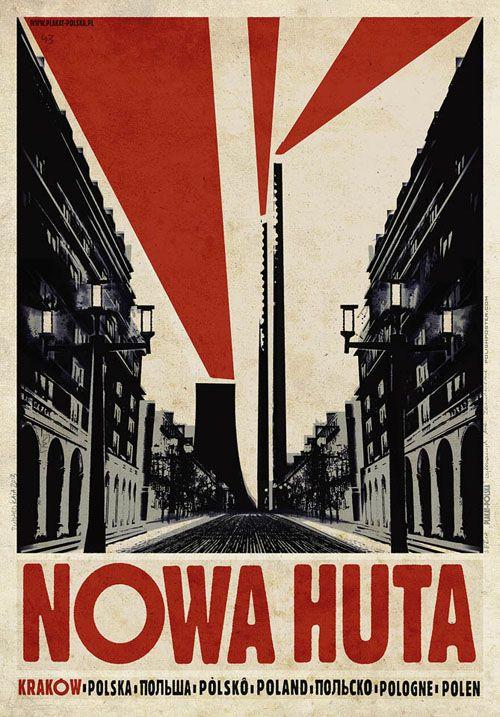 Nowa Huta, Polish Promotion Poster by Ryszard Kaja