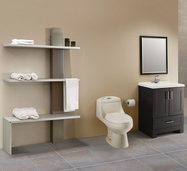 Puedes colocar un gabinete de piso con puertas y cajón inferior, adicional incluye en la pared varias repisas largas para organizar mejor tus toallas o artículos de decoración.