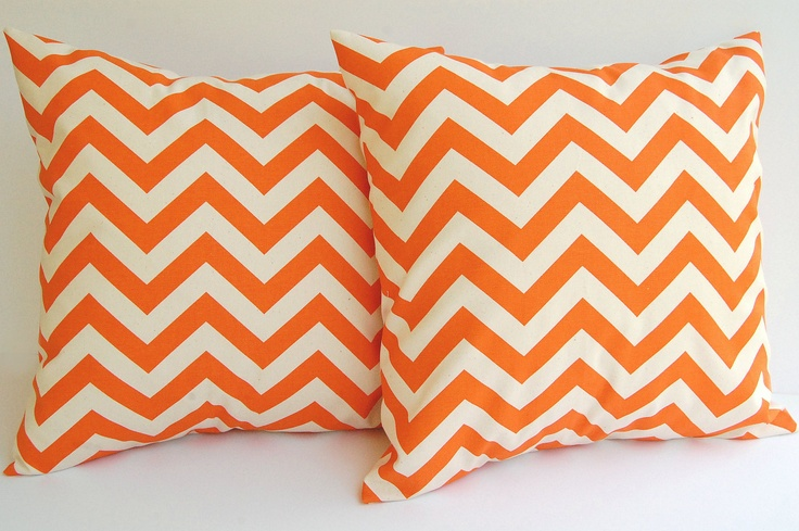 """Orange pillow covers set of two 20"""" x 20"""" Orange and Natural Pillow covers Chevron zig zag accent decorative throw pillows. $36.00, via Etsy."""