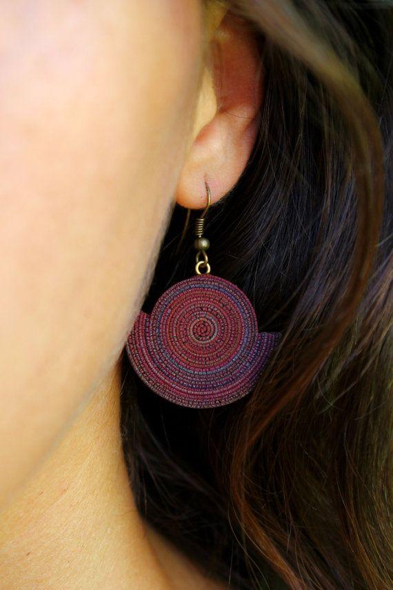 Bohemian Earrings polymer clay Natural ethnic jewelry new age tribal earrings khaki color earrings mandala jewelry wearable art