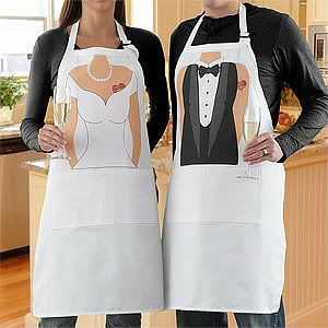 His and hers aprons - a fun look for any couple!  You can add each of their names to the little heart tattoos.  Under $30 each, or the set is $57.