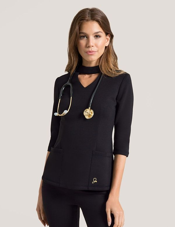 05416eec451 Mock Neck Top in Black is a contemporary addition to women's medical scrub  outfits. Shop Jaanuu for scrubs, lab coats and other medical apparel.