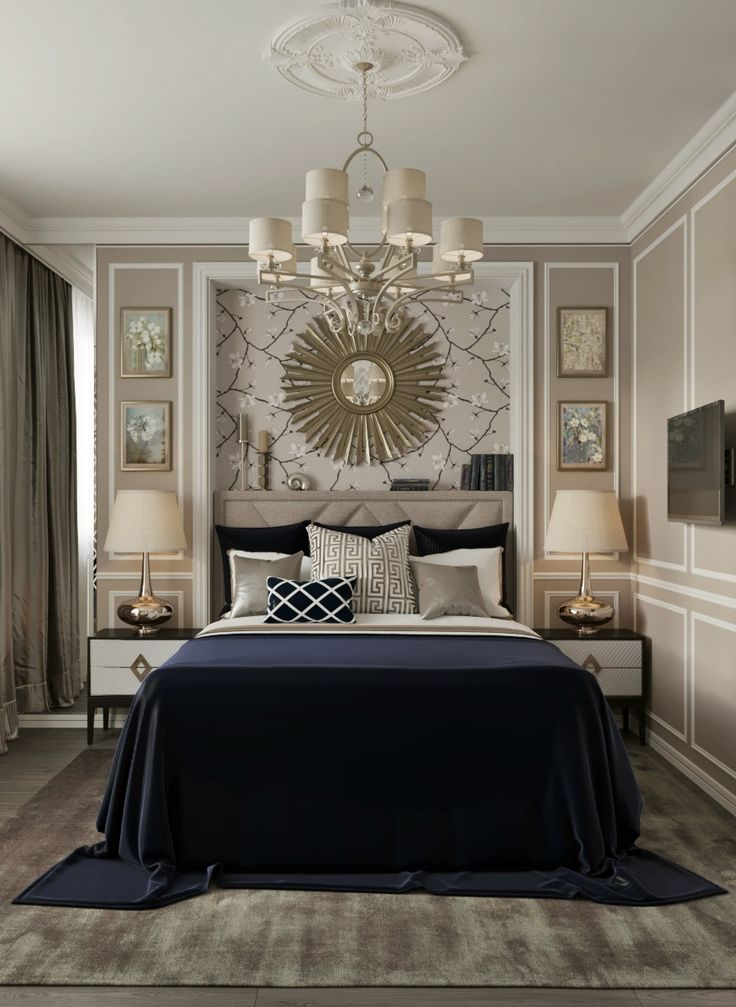 Glamourous, luxurious, timeless in this pale gold, taupe and midnight blue bedroom by Décor Lusso