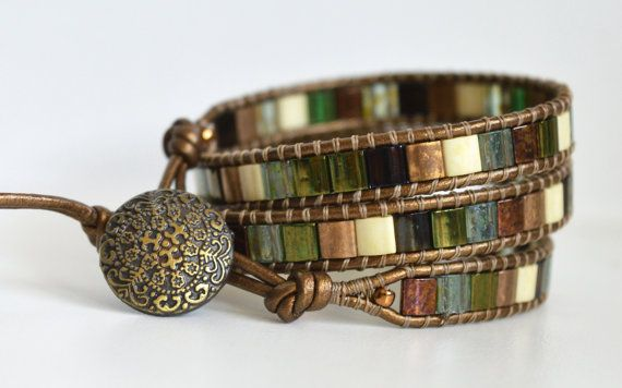 Hey, I found this really awesome Etsy listing at https://www.etsy.com/listing/267551549/3x-wrap-leather-tila-bead-bracelet-green