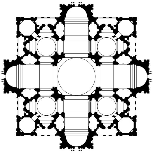 Vatican - St Peter's. Bramante's Plan. This is plan 1 of 3. The plan is based on a square, superimposed on a cross with arms of equal length. The cross makes the main sections of the church building: nave and chancel crossed by the transepts, with a circular dome over the crossing. There are four smaller domes, one in each corner of the square. The arms of the cross project beyond the square.