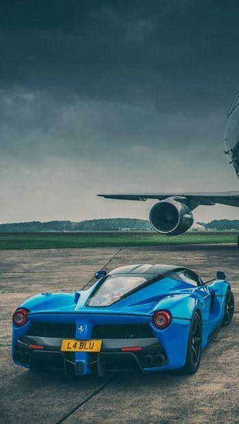 Blue Ferrari And Jet Iphone 7 Wallpaper 1080x1920 Cars And Bikes