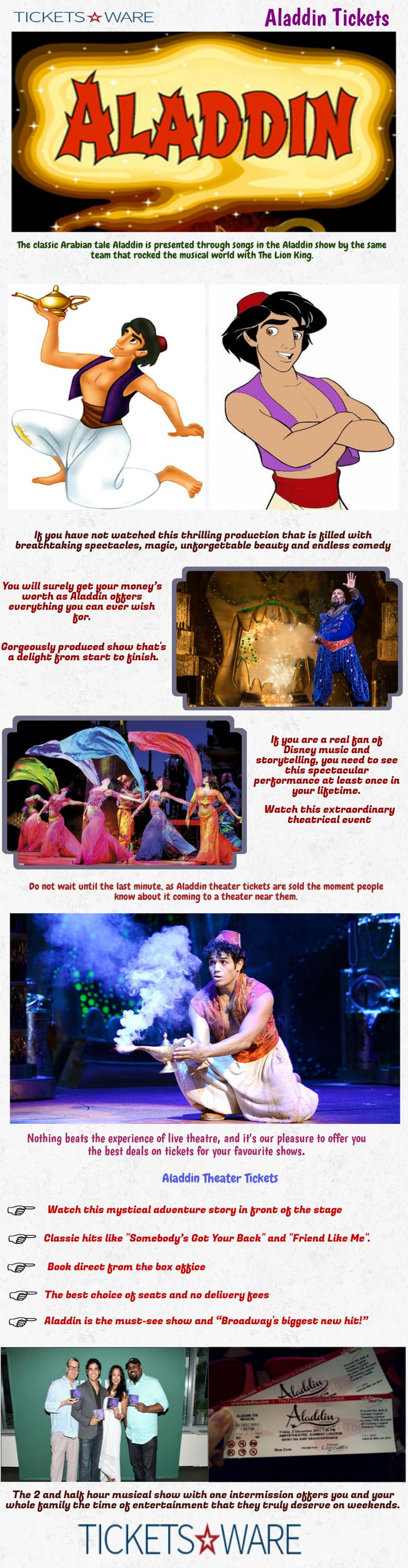 The classic Arabian tale Aladdin is presented through songs in the Aladdin show by the same team that rocked the musical world with The Lion King. Visit Us https://www.ticketsware.com/aladdin-tickets
