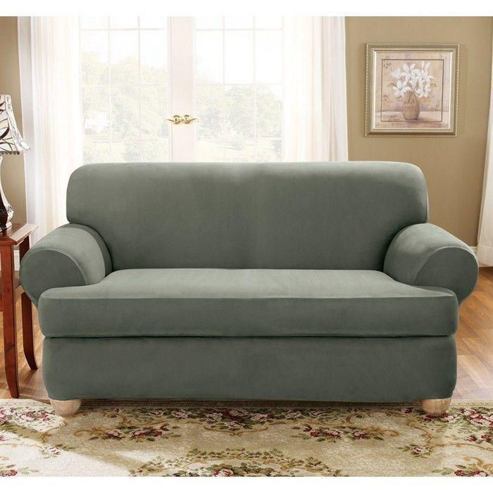 Sure Fit Stretch Suede Sofa 2 Piece T-Cushion Slipcover #SureFit