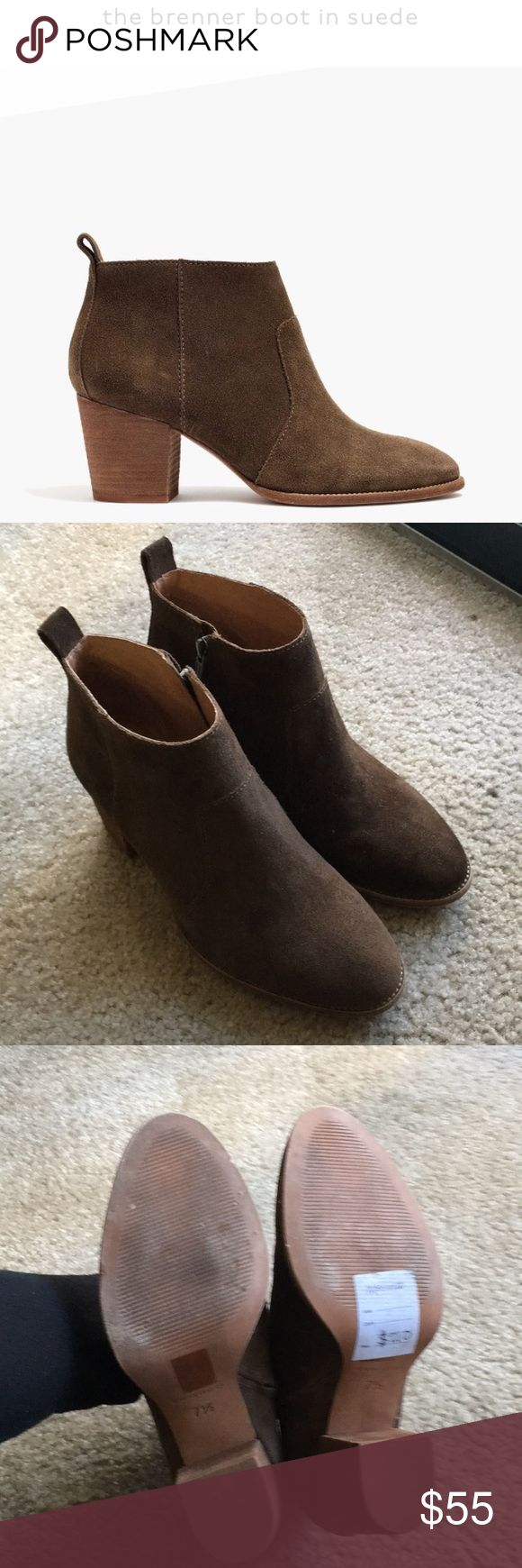 """Madewell suede brenner ankle heeled boot Mink/olive color. Selling because I """"ruined"""" the left boot w/ scotchgard spray. It left streaks through out. the boot is now darker than the right. Not noticeable when wearing but I'm too ocd to deal with it so I'm letting them go. I'm sure it's fixable. tried washing it per instructions online which helped some but i don't have time to really get into it. The right side is also sprayed but came out great. I'm sure more spray on the right will even…"""