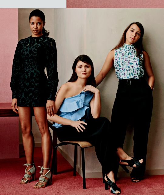 Renee Elise Goldsberry, Phillipa Soo and Jasmine Cephas Jones photographed by Bjarne Jonasson for InStyle Magazine