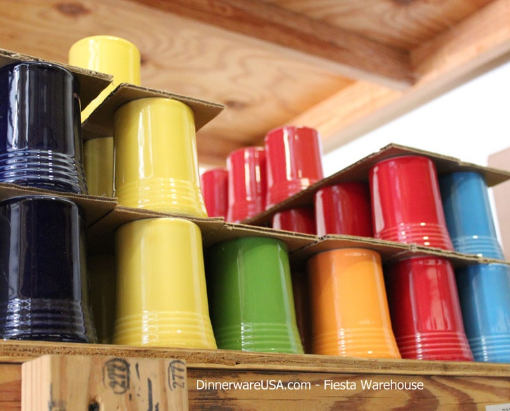Fiestaware Tumblers stacked and ready to ship. FYI Fiesta is retiring Tumblers, so view current inventory now.  http://www.dinnerwareusa.com/shop/catalog/handler~event~familySelected~pf_id~696.htm