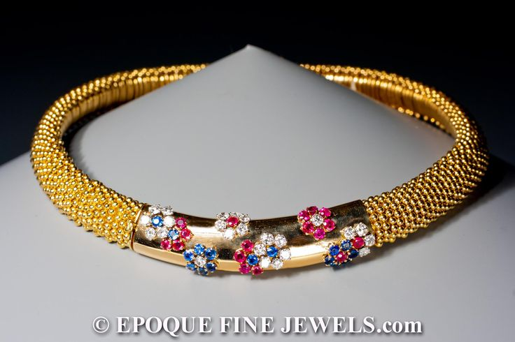 Van Cleef & Arpels, A beautiful ruby, sapphire and diamond couscous necklace,