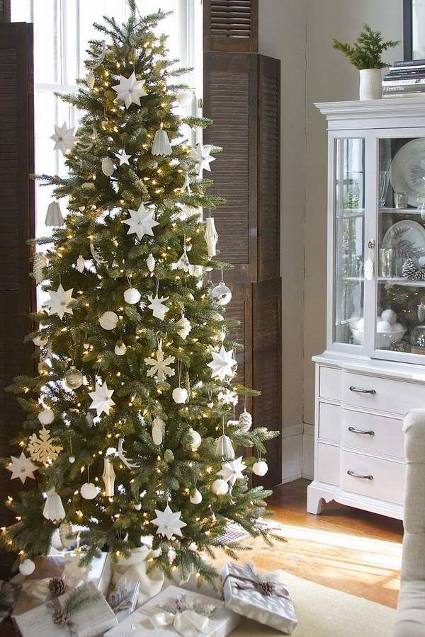 pencil Christmas tree ideas how to decorate pencil christmas tree white christmas decor