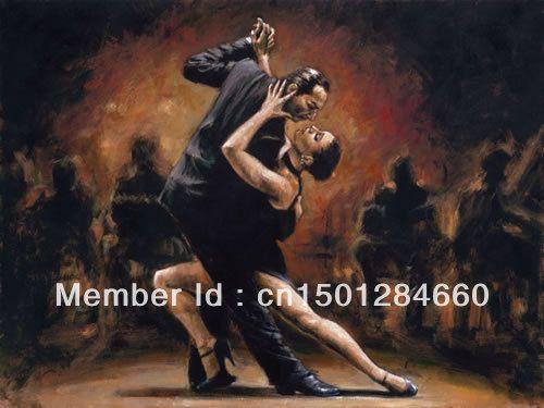 fabian perez- tango ii el yapımı sanat modern tango yağlıboya seksi kadın ve erkek dansçılar tuval sanat dekor ev ofis(China (Mainland))
