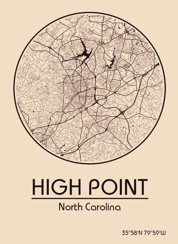 Karte / Map ~ High Point, North Carolina - Vereinigte Staaten von Amerika / United States of America / USA