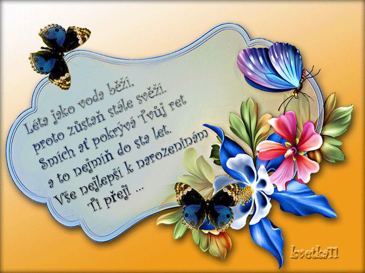 přání , kytky, motýlci