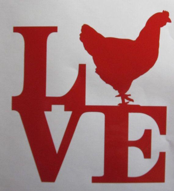 Love Chicken Vinyl Window Decal / Sticker by WestGaVinyls on Etsy