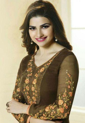 The Prachi Desai Collection:atisundar charming Brown Designer Embroidered Straight Cut Suits In Faux Georgette - 9590 - atisundar - 2