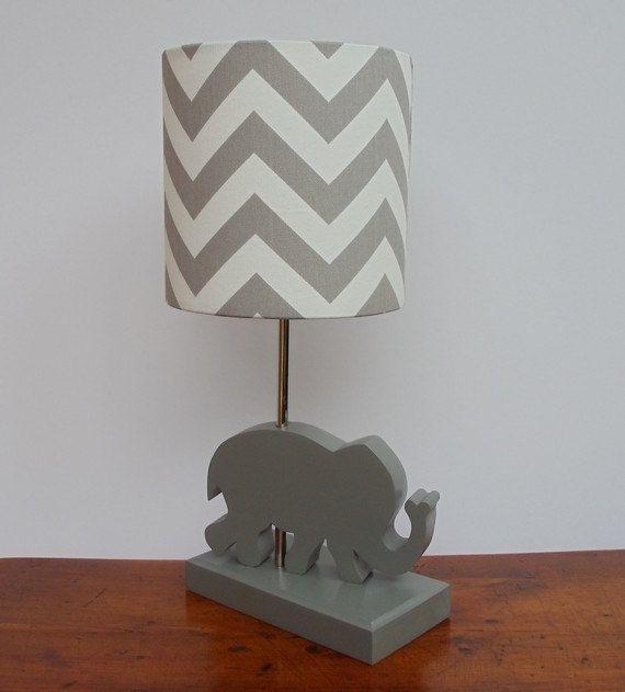 Large Grey/White Chevron Drum Lamp Shade - Nursery, Girl's or Boy's Lamp Shade