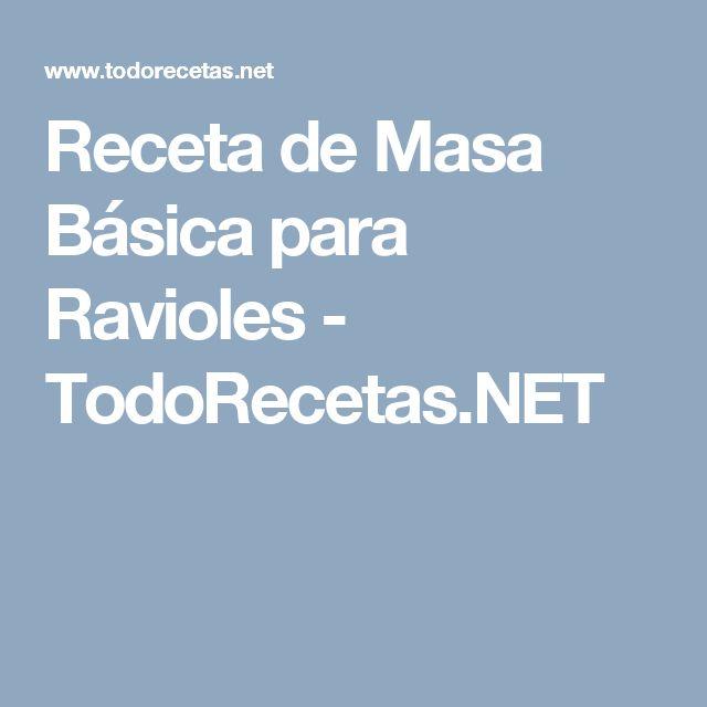 Receta de Masa Básica para Ravioles - TodoRecetas.NET