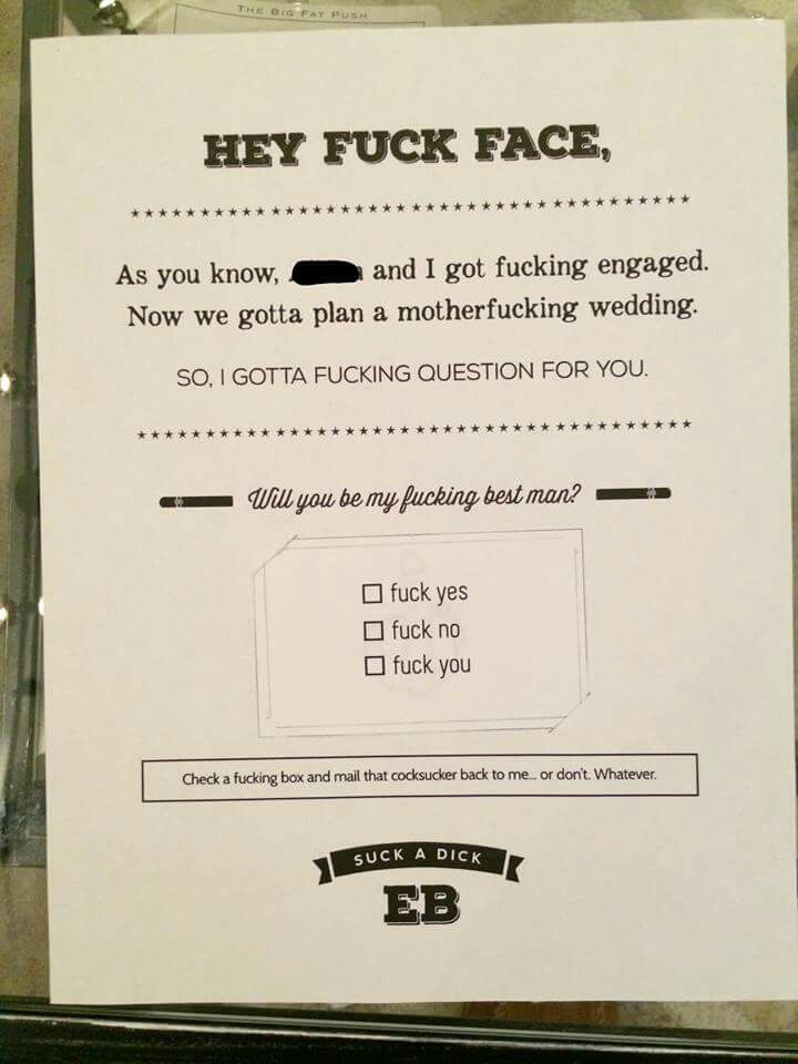 "Hilarious way of asking ""Will you be my best man?"""