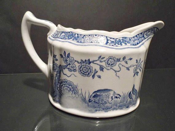 Furnivals Vintage Blue Quail Creamer Made In England