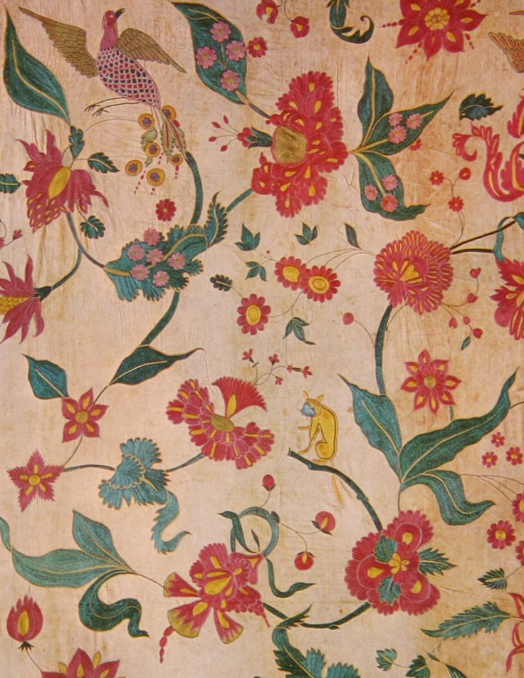 1600s cotton embroidered with silk, flora & fauna From Gujarat, ...