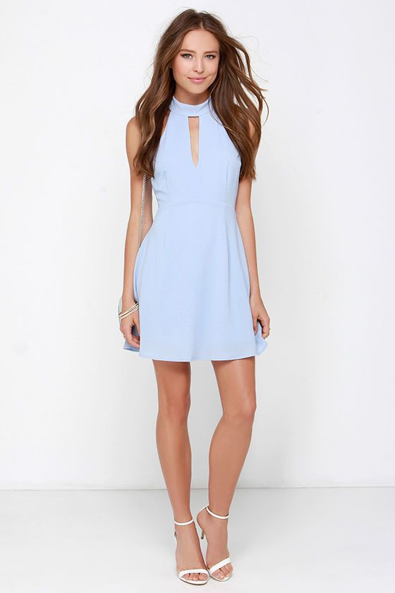 Halter At Ya Periwinkle Dress $39 at Lulus.com!
