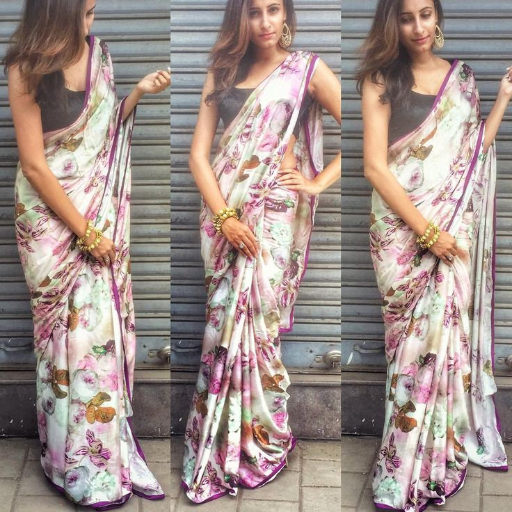 Pure satin floral satin saree purple silk border To purchase mail us at houseof2@live.com or whatsapp us on +919833411702 for further detail #sari #saree #satin #traditional #traditionalwear #ethnic #india #indian #indianwear #indowestern #indiancouture #peach #houseof2