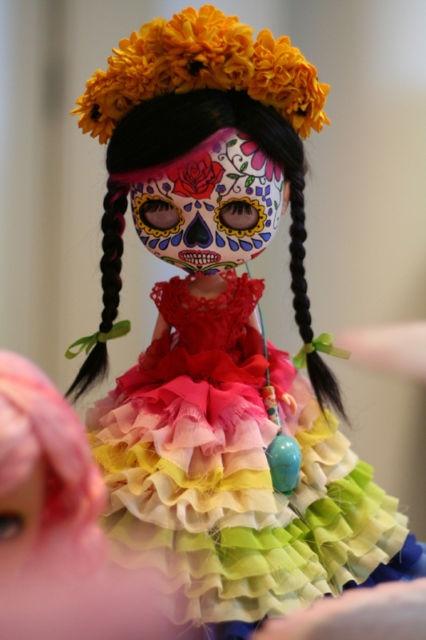Dia de los Muertos/Day of the Dead~Skull painted doll.