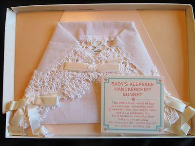 Hallmark Lace Baby Bonnet Bride Keepsake Handkerchief