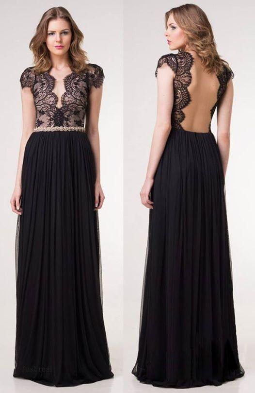 Sexy Backless V Neck Lace Chiffon Maxi Dress