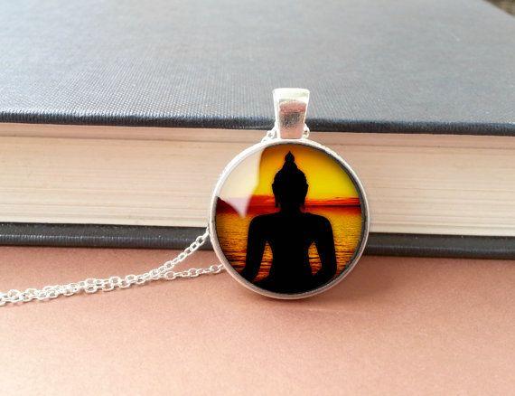 Buddha Halskette Schwarz/Silber Buddha Anhänger Glas von bySantana