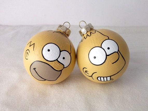 Simpsons Bart and Homer Hand Painted Ornament Set  at Ginger Pots on Etsy