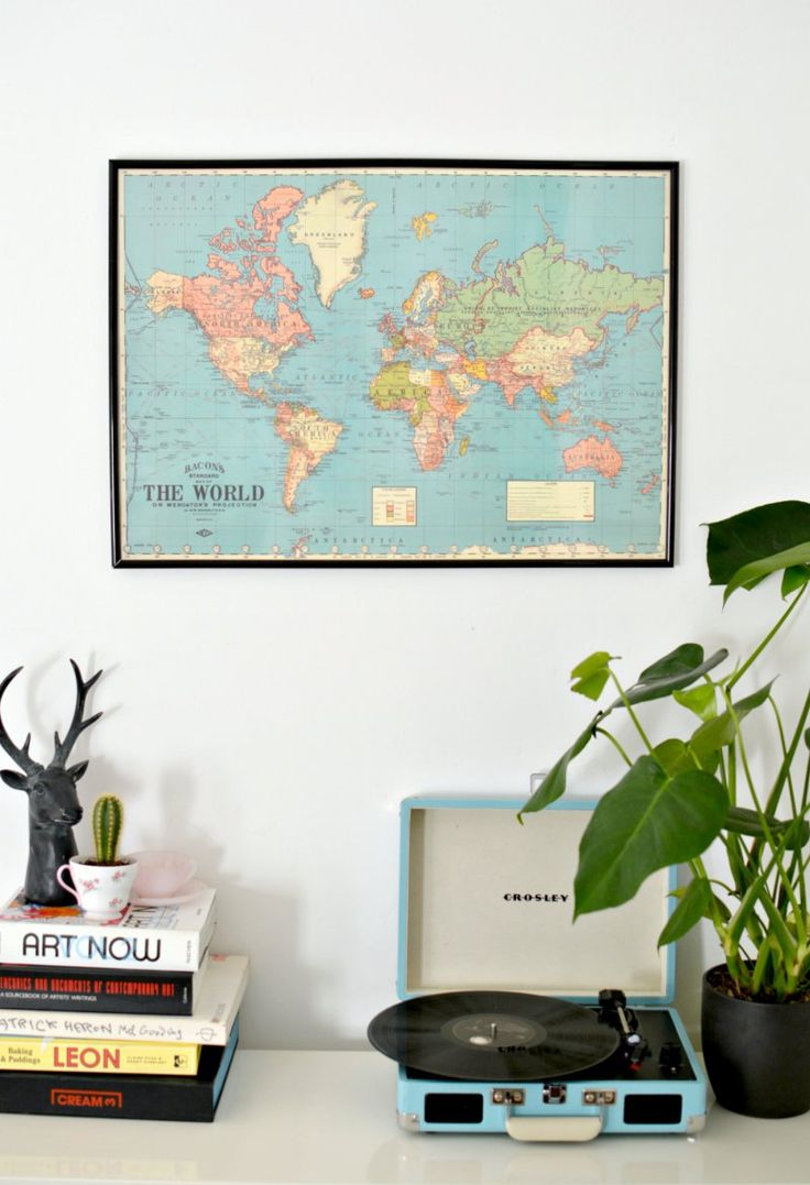 DIY Framed World Map Wall Art