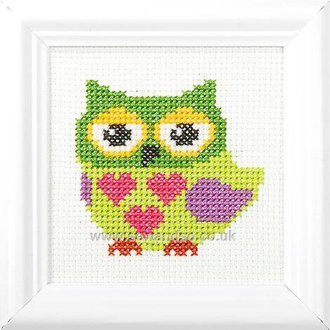 Love Heart Owl Cross Stitch Kit