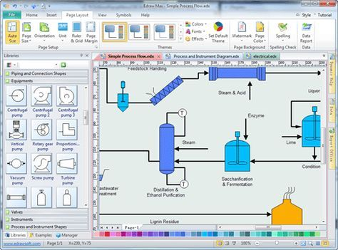 Simple process and instrumentation drawing software