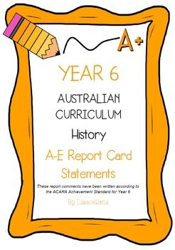 * Now UPDATED to align with V8.1 of the Australian Curriculum*Report card writing has never been easier! Save time and be confident that your comments are well written and designed to align to the Australian Curriculum Achievement Standards. This file contains 105 A - E report card comments for Year 6 History.Suitable for all states and territories, my comments are currently being used in over 600 Queensland schools.Available in Word format for easy cutting and pasting into documents.Find…