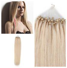 """18 """"bucle Micro Anillo Perlas Con Punta De Remy Human Hair Extensiones # 60 Luz Rubia Años 50"""