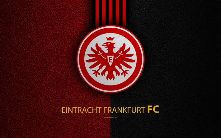 Download wallpapers Eintracht Frankfurt FC, 4k, German football club, Bundesliga, leather texture, emblem, logo, Frankfurt am Main, Germany, German Football Championships