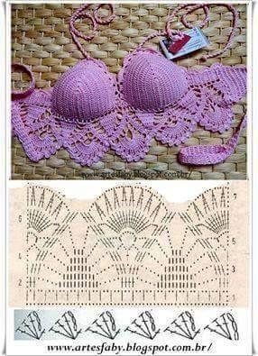 ღೋღ Blusinhas e saias, Biquínes em crochet ღೋღ