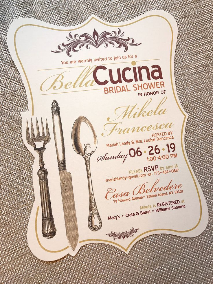 recipe themed bridal shower invitation wording%0A BellaCucina Beautiful Kitchen Tuscan Italian Ivory Linen Vintage Frame  Shape fork spoon knife Utensil Bridal Shower Tea Invitation    Sample