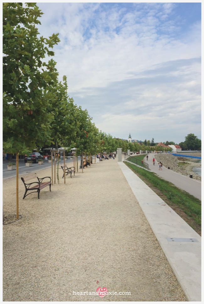 The benches along the river front...