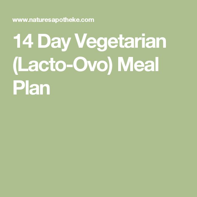 14 Day Vegetarian (Lacto-Ovo) Meal Plan